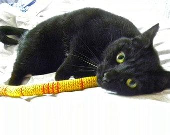 FREE SHIPPING Catopia9, Certified Organic Catnip/Valerian Cat Toy SNAKE, hand-crochet, high quality wool/bamboo yarn.