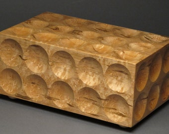 Unique Sculptural Jewelry Box with Two Removable Trays, Birds Eye Maple, 'The Matrix Box'