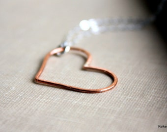 Open Heart Necklace Sterling Silver Copper Sideways Heart Romantic Gift for Valentine's Day