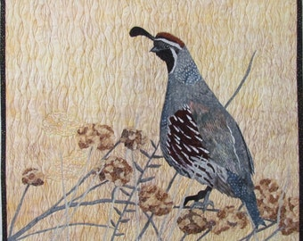 Quail Art Quilt Pattern by Lenore Crawford