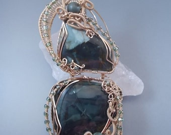Hinged Morrisonite Jasper - 14K Gold Filled Wire Wrapped Pendant