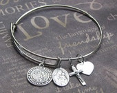 Saint Christopher Charm Bangle • Alex and Ani Style • Travelers Protection • Wire Bracelet • Adjustable • Mother's Day • Valentine's Gift