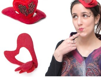 Felted Designer Heart Fascinator, Motherday, high fashion love sign hat, red black hearty headwear, Paris fashion accessories