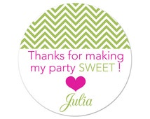 Custom Birthday Party Stickers - Personalized Labels - Chevrons - Zig Zags - Party Favor Labels - Sweet Party Favor Stickers