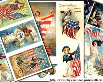 Vintage Fourth of July Clip Art Printable Digital Download