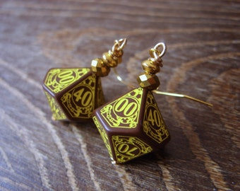 D100 steampunk dice earrings dice jewelry dnd dungeons and dragons toothed bar steam punk dice jewelry dice earrings pathfinder