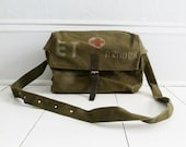 Vintage Army Medic Bag from Eastern Europe - Red Cross, Military, Tote, Canvas - 2 of 10
