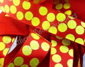 NEW ITEM---7/8 inch wide Grosgrain Ribbon---5 Yards---Glitter Silly Dot Red with Yellow---USA Designer