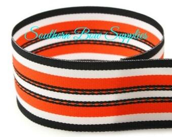 SALE----1.5 inch Grosgrain Ribbon-------3 Yards-----Stripes-----Orange White Black------Hair bow Making Supplies