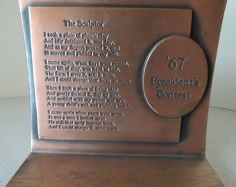 "1967 President's Contest Copper Bookend. A Copper ""The Sculptor"" Poem Shelf Sitter. Raising a Child Library or Desk Accessory"