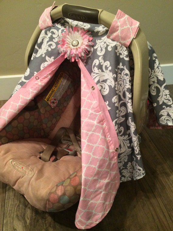 Car Seat Canopy Pink And Grey Damask Car Seat Cover Car