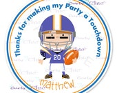 Happy Birthday Football Stickers -Personalized Sticker  -Personalized Stickers or Labels for your Favors -Choose Size-