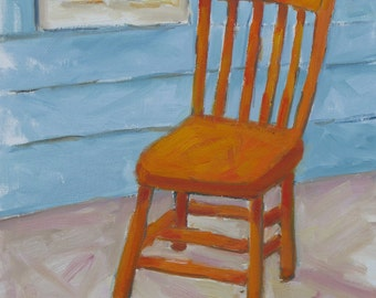 Waiting for Spring, an original 11 x 14  (28 x 36 cm) painting on Canvas board by Yvonne Wagner. Chair. Chaise. Sessel. Orange. SALE.