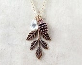 Pinecone Necklace Pine Cone Necklace Leaf Necklace Nature Jewelry Autumn Wedding Bridesmaid Gifts Leaf Pendant