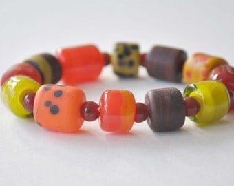 Chunky Bracelet, Lampwork Bracelet, Stretch Bracelet, Glass Bead Bracelet, Orange Red Bracelet
