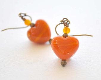 Orange Heart Earrings, Lampwork Earrings, Glass Earrings, Valentine Earrings