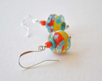 Colorful Earrings, Orange Earrings, Lampwork Glass Earrings, Glass Bead Earrings