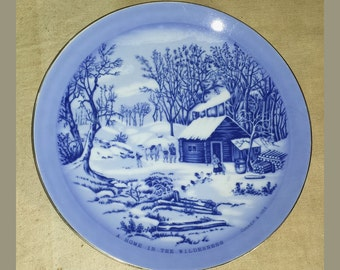 Vintage Decorative Porcelain Plate Blue and White Currier & Ives A Home in the Wilderness