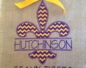 """Purple and Gold Chevron Fleur De Lis Burlap Embroidered Garden Flag 11"""" X 14"""""""