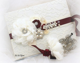 Guest Book, Ivory, Silver, White, Burgundy,Signature Book, Signing Pen, Elegant Wedding, Bridal, Lace, Crystals, Pearls, Vintage Style