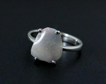 50% OFF SALE - White Australian Opal Ring - Freeform Cut - Sterling Silver