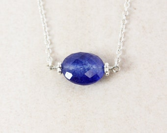 Blue Sapphire Quartz Necklace - 925 Sterling Silver