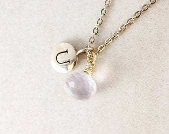 Initial & Pink Rose Quartz Necklace - Monogram Necklace