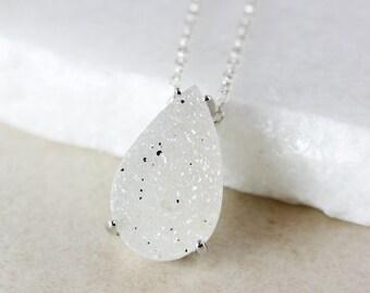 50% OFF SALE - White Teardrop Druzy Necklace - Choose Your Druzy Pendant - 925 Sterling Silver