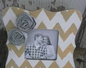 Mustard Yellow and White Chevron Scalloped Picture Frame with Grey Fabric Rosettes Great for Baby Bride Wedding Family