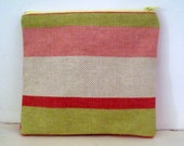 Hot Pink and Green Striped Fully Lined Zippered Bag Fully Lined Zippered Bag