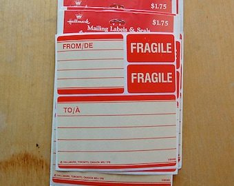 Vintage Red Mailing Labels with Fragile Stickers by Hallmark of Canada for Bilingual French and English Postage and Packages.