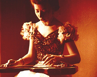 Fine Art Print of Vintage Photograph of Woman Musician Playing Slide Guitar in Evening Gown for Vintage Wall Decor.