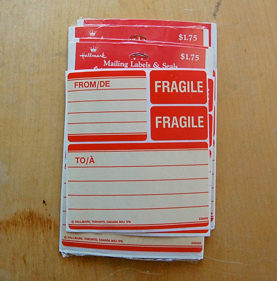 Vintage red mailing labels with fragile stickers by hallmark for Hallmark address labels