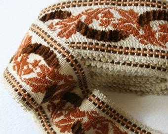 Vintage Upholstery Trim Floral Raised Chenille Design Cream Brown