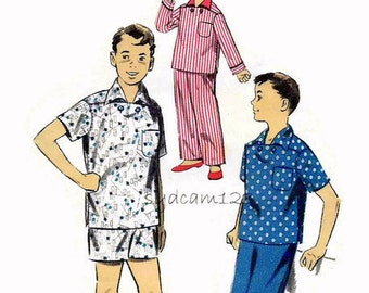 Vintage 1950s Boys' Pattern Pajamas Wing Collar Patch Pocket Shirt Loose Fitting Shorts or Pants 1950s Advance 8061 Size 12