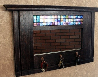 "Entryway Organizing Mirror, Storage Hooks, Mosaic Tile Accent, Distressed Black Finish, ""Mary's Mirror"", 22 x 37 - Handmade"