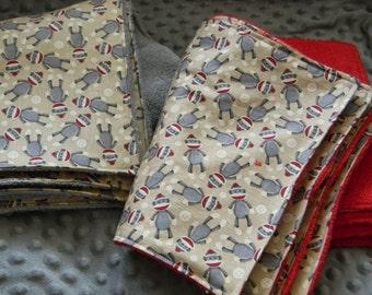 Burpcloths - set of 10 - sock monkey