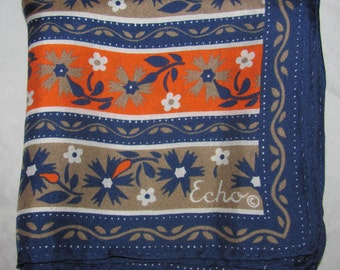 Vintage Echo Silk Square Scarf - Blue and Orange Floral Stripe Pattern - Dark, Fall Colourway with Flowers