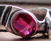 Beautiful Vintage Sterling Silver Size 9 One of a Kind Cut Garnet Ring, Heavy Unusual Ring
