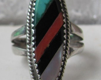 Nice Multi Stone Native American Made Old Pawn Silver Ring, Size 7