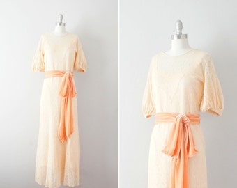 Sale // 1930s sheer lace gown with original slip / vintage 30s pale peach dress / Peach Sorbet gown