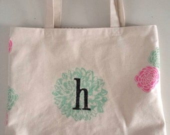 Custom Monogram Flower Tote - Original Heavyweight Tote Bag by Joshua By Oak