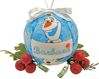 Child's Personalized Frozen Olaf Handmade Christmas Ornament Tree Decoration Home Decor Quilted Kimekomi Ornament by CraftCrazy4U