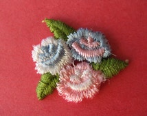 pink flower patch, 1970's embroidered flower cluster appliqué, new old stock.