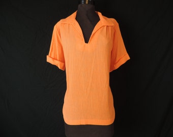 orange gauzy tunic blouse 70s hippie boho linen look top XL new old stock