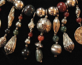 Southwestern Dangling Concho Necklace, Stone Beads, Over the Top