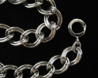 Sterling Silver Charm Bracelet Chain Thick Link