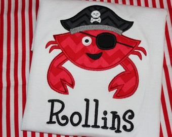 Summer pirate crab shirt- beach crab tshirt