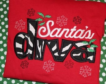 Christmas Santa's Diva tshirt or dress-  can change fabric