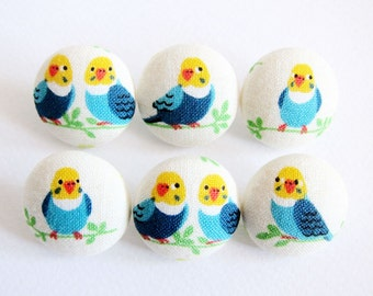 Fabric Covered Buttons - Yellow and Blue Birds - 6 Medium Fabric Buttons